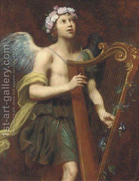 An angel playing the harp by (after) Guido Cagnacci - Reproduction Oil Painting