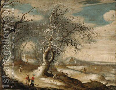 A winter wooded landscape with faggot-gatherers and peasants on paths by (after) Gijsbrecht Leytens - Reproduction Oil Painting