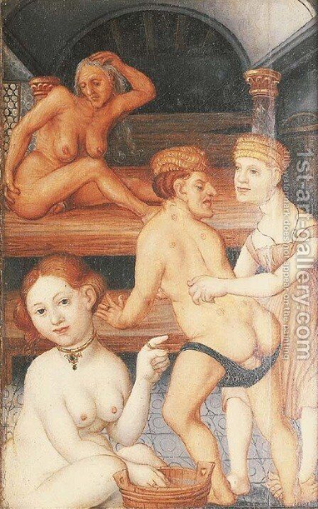 A bathing scene by (after) Hans Baldung Grien - Reproduction Oil Painting