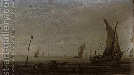 Shipping in calm waters with a moored vessel in the foreground by (after) Hans Goderis - Reproduction Oil Painting