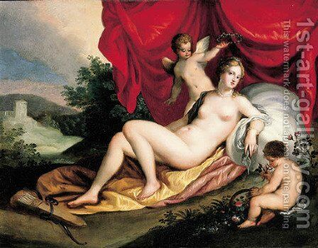 Venus reclining with two putti by (attr. to) Rottenhammer, Hans - Reproduction Oil Painting