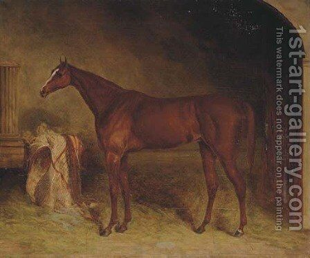 A chestnut racehorse in a stable, Newmarket by (after) Harry Hall - Reproduction Oil Painting