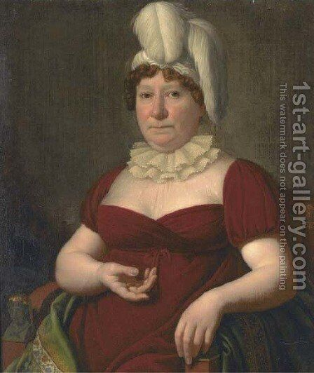 Portrait of a lady by (after) Heinrich Christoph Kolbe - Reproduction Oil Painting