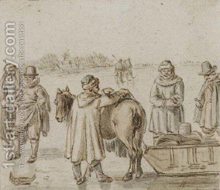 Figures by a horse-drawn sledge, skaters on the ice beyond by (after) Hendrick Avercamp - Reproduction Oil Painting