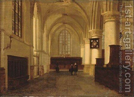 Figures in a church interior by (attr. to) Vliet, Willem van der - Reproduction Oil Painting