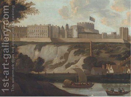 River traffic on the Thames, with Windsor Castle beyond by (after) Hendrick Danckerts - Reproduction Oil Painting