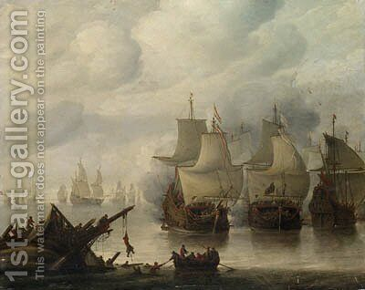 A naval battle between English and Dutch fleets in a calm, sailors abandoning a wreck in the foreground by (after) Hendrick Dubbels - Reproduction Oil Painting