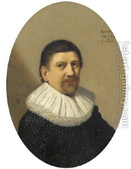 Portrait of a gentleman, aged 46 by (after) Hendrick Gerritsz. Pot - Reproduction Oil Painting
