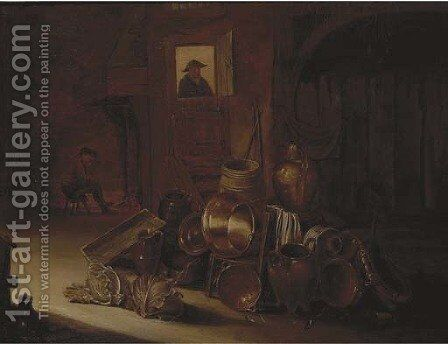 A stable interior with kitchen utensils and vegetables in the foreground by (after) Hendrick Maertensz. Sorch (see Sorgh) - Reproduction Oil Painting