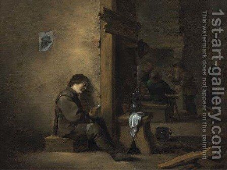 Boors smoking and drinking in a tavern by (after) Hendrick Maertensz. Sorch (see Sorgh) - Reproduction Oil Painting