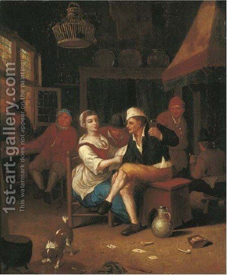 Peasants making merry in an interior by (after) Hendrik Carree - Reproduction Oil Painting