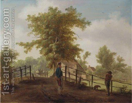 A landscape with two men and a dog on a bridge by (after) Hendrik De Meyer II - Reproduction Oil Painting