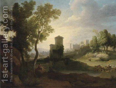 A classical landscape with a drover and cattle at a lake, a walled town beyond by (after) Hendrik Frans Van Lint - Reproduction Oil Painting