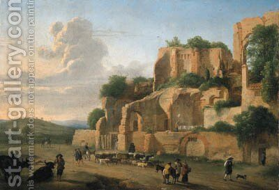 The Palatine Hill seen from the Circus Maximus with drovers, livestock and other figures by (after) Hendrik Frans Van Lint - Reproduction Oil Painting