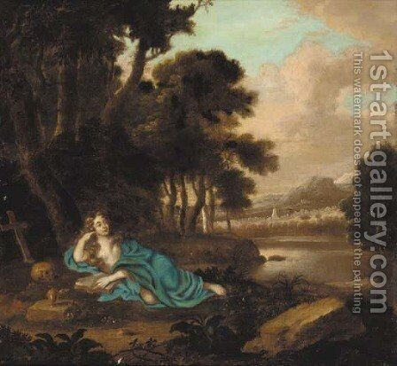 The penitent Magdalene reclining in a landscape by (after) Henri Gascars - Reproduction Oil Painting