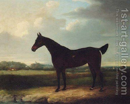 A dark bay Racehorse in an extensive Landscape, thought to be Newmarket by (after) Henry Bernard Chalon - Reproduction Oil Painting