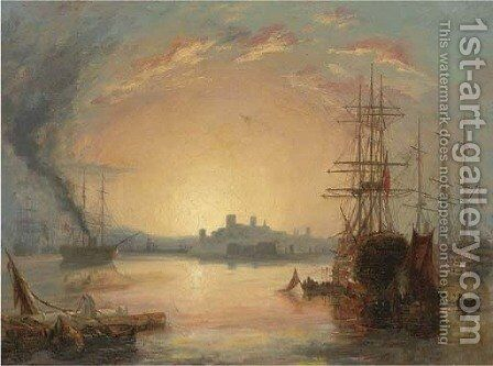 Three-deckers lying in the river at dusk by (after) Henry Thomas Dawson - Reproduction Oil Painting