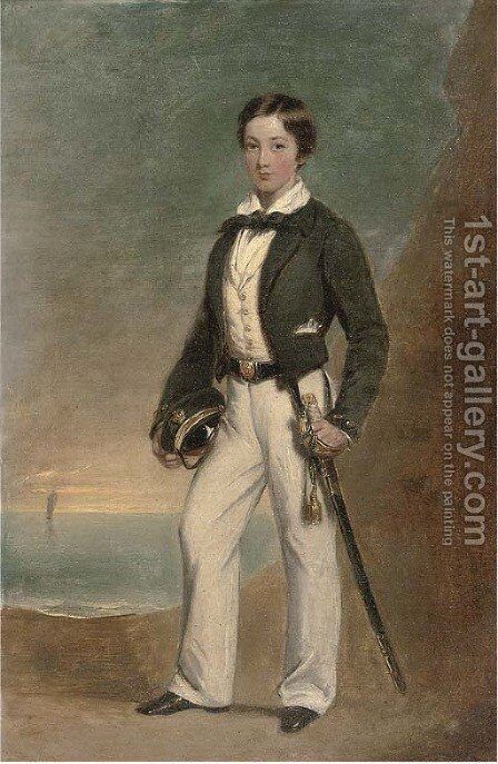 Portrait of Captain Henry Fairfax of the Royal Navy as a cadet by (after) Henry Hainsselin - Reproduction Oil Painting