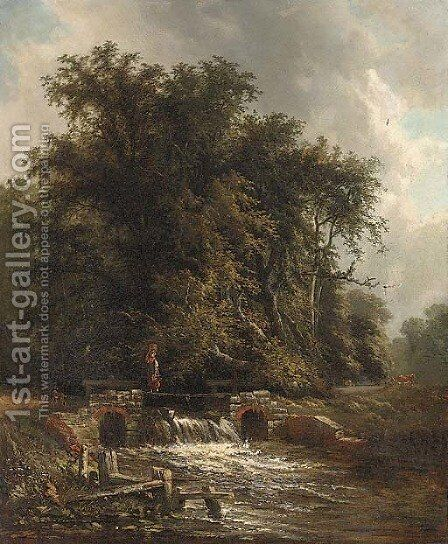 Crossing the weir by (after) Henry John Boddington - Reproduction Oil Painting