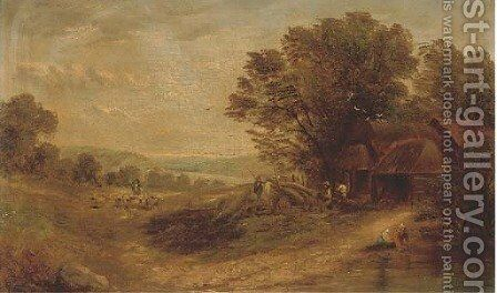 Timberjacks by a cottage, a shepherd and his flock beyond by (after) Henry John Boddington - Reproduction Oil Painting