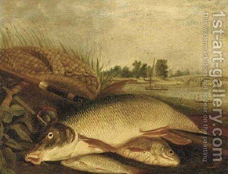 The day's catch by (after) Henry Leonides Rolfe - Reproduction Oil Painting