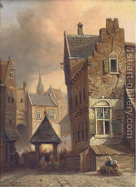 A continental street scene by (after) Henry Schaffer - Reproduction Oil Painting