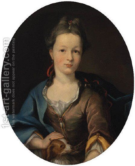 Portrait of a Lady 3 by (after) Heroman Van Der Mijn - Reproduction Oil Painting