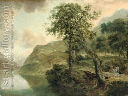 A mountainous wooded landscape with Tobias and the Angel on a wooden bridge near a lake by (after) Herman Van Swanevelt - Reproduction Oil Painting