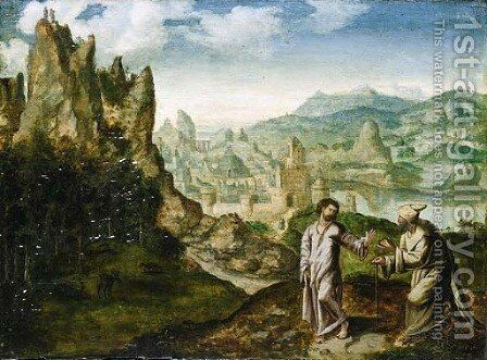 The Temptation of Christ by (after) Herri Met De Bles - Reproduction Oil Painting