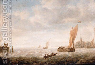 A wijdschip before the wind approaching a harbour by (after) Hieronymus Van Diest - Reproduction Oil Painting