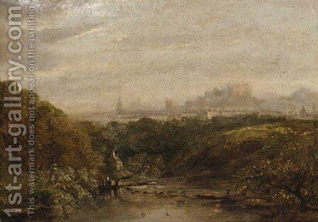 View of Edinburgh from the west by (after) Horatio McCulloch - Reproduction Oil Painting