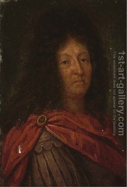 Portrait of a Louis XIV, bust-length by (after) Hyacinthe Rigaud - Reproduction Oil Painting