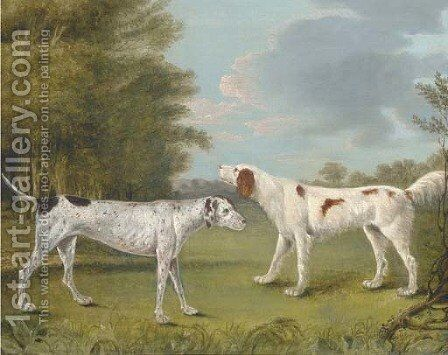 An English setter and a pointer in a landscape by (after) I. Rothwell - Reproduction Oil Painting