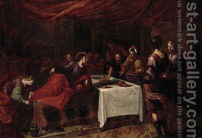 Mary Magdalen washing Christ's feet in the house of Simon the Pharisee by (after) Ignatius De Roore - Reproduction Oil Painting