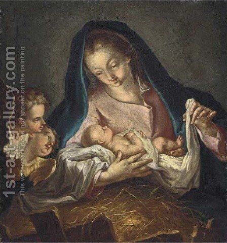 The Virgin and Child with cherubim by (after) Ignazio Stella (see Stern Ignaz) - Reproduction Oil Painting