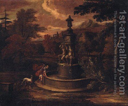A landscape with Narcissus by a fountain by (after) Isaac De Moucheron - Reproduction Oil Painting