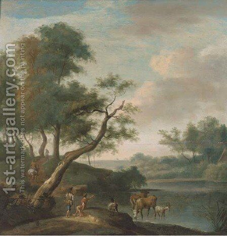 A landscape with travellers on a track and cattle and drovers at a ford by (after) Isaac De Moucheron - Reproduction Oil Painting