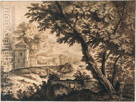 Trees by a ruined wall near a dovecote by a cloister by (after) Isaac De Moucheron - Reproduction Oil Painting