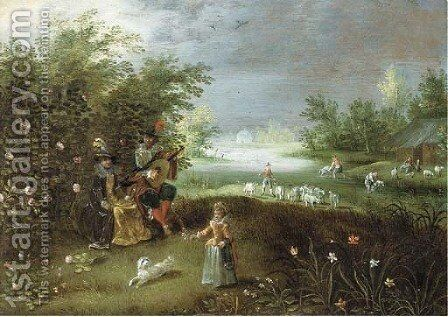 Elegant company making music in a garden, a landscape beyond by (after) Isaac Van Oosten - Reproduction Oil Painting