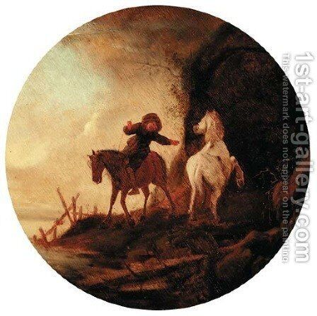 A wooded landscape with a boy and two horses by (after) Isaack Jansz. Van Ostade - Reproduction Oil Painting