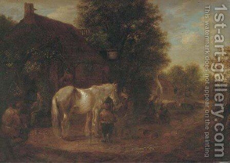 Peasants feeding a horse outside an inn by (after) Isaack Jansz. Van Ostade - Reproduction Oil Painting
