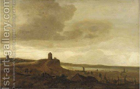 A coastal inlet with travellers on a track and other figures in the foreground by (after) Isaack Van Ruysdael - Reproduction Oil Painting