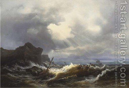 Shipwreck off the coast in a stormy sea by (after) Ivan Konstantinovich Aivazovsky - Reproduction Oil Painting