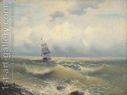 A two masted barque running along the coast by (after) Ivan Konstantinovich Aivazovsky - Reproduction Oil Painting