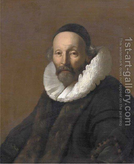 Portrait of Remonstrant minister Johannes Uytebogaert (1557-1644) by (after) Jacob Adriaensz. Backer - Reproduction Oil Painting