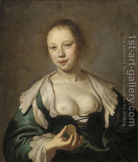 The Sense of Touch A courtesan holding a coin by (after) Jacob Adriaensz. Backer - Reproduction Oil Painting