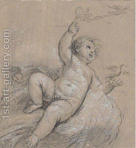 Study of Cupid releasing doves by (after) Jacob De Wit - Reproduction Oil Painting
