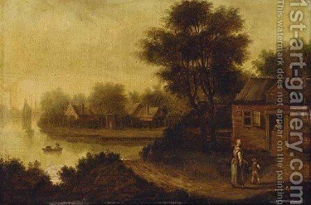 A river landscape with a mother and child on a track before a cottage by (after) Jacob Elias La Fargue - Reproduction Oil Painting