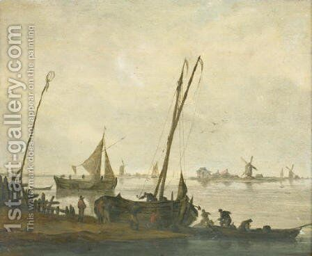 Fishermen mooring their boats on the bank of a river, a sailing boat and a river bank with windmills beyond by (after) Jacob Esselens - Reproduction Oil Painting