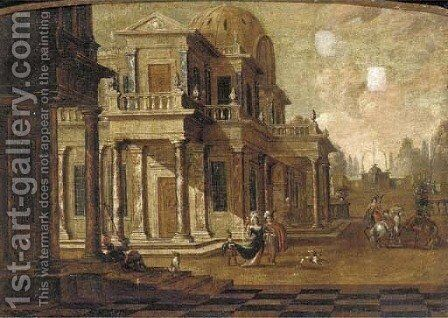A capriccio of a classical palace with elegant company and falconers by (after) Jacobus Saeys - Reproduction Oil Painting